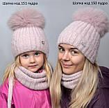 Детская шапка шик с завязками с натуральным помпоном, фото 6