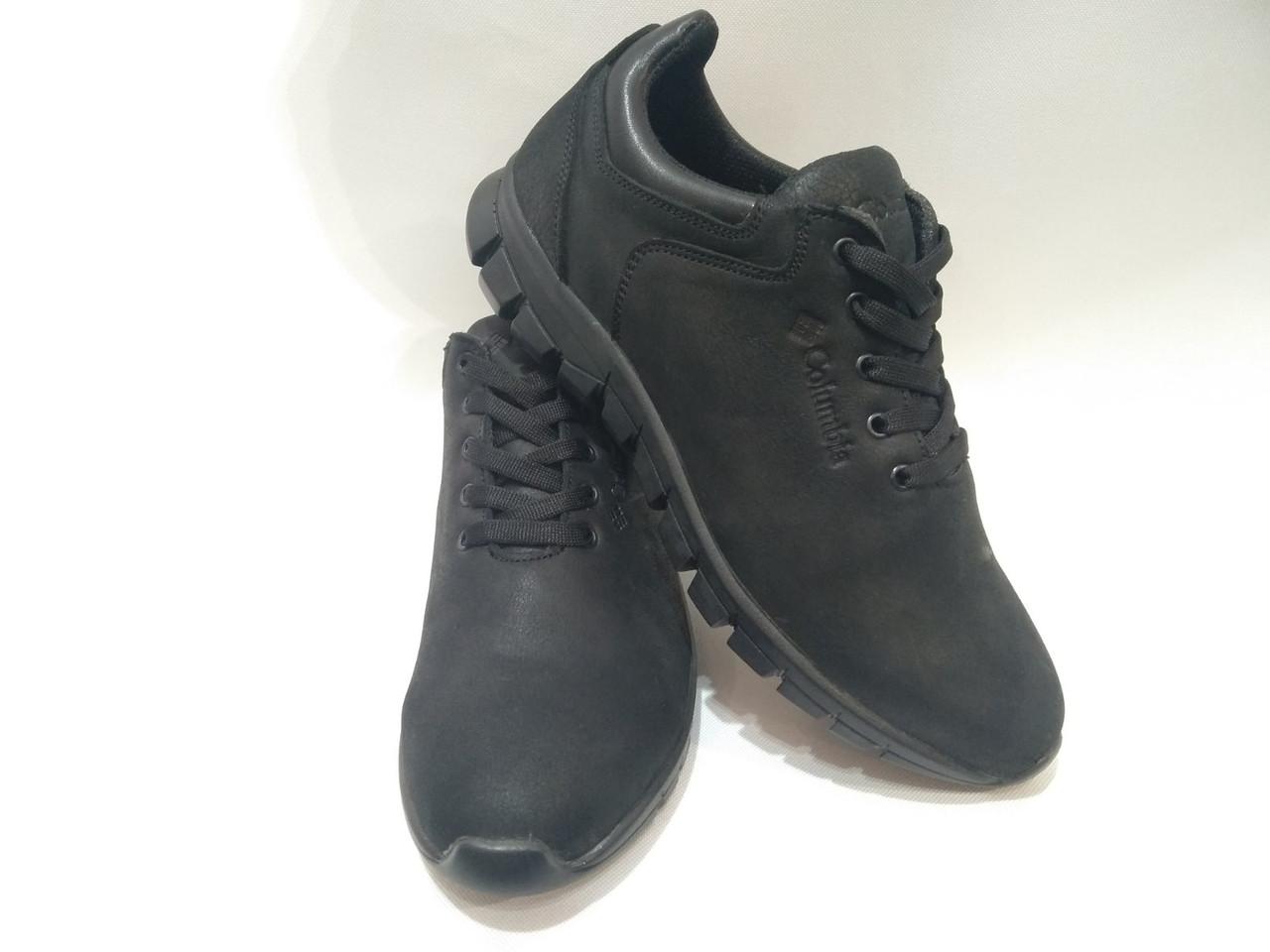 """Мужские кожаные кроссовки """"Columbia / черные набук"""