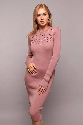 """Элегантное нарядное вязаное платье миди 009 """"Rosse"""" в расцветках"""