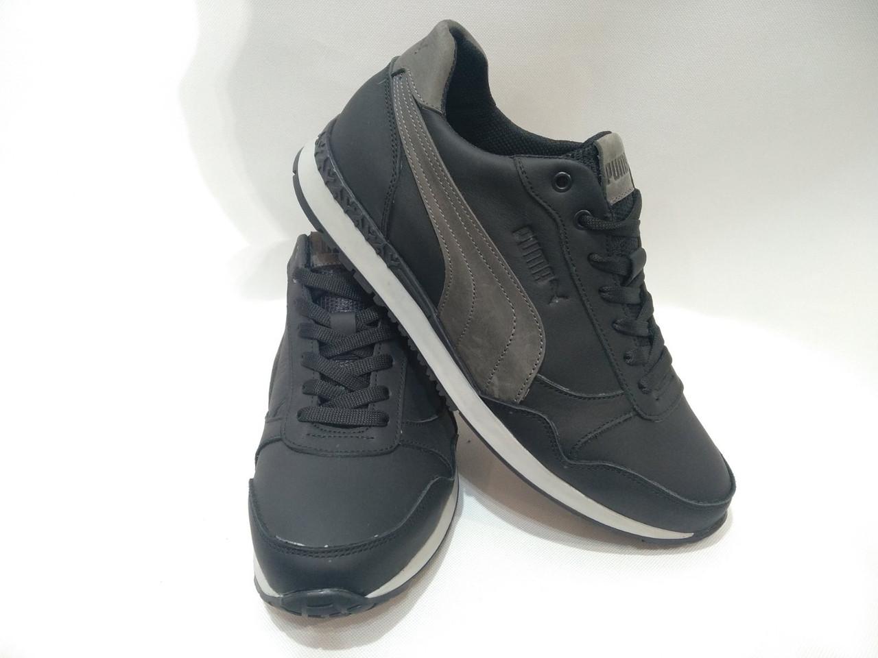 Мужские кожаные кроссовки Puma / черные, фото 1