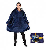 🔝 Просторная двусторонняя флисовая домашняя толстовка с капюшоном, Huggla Hoodie, Синяя, худи | 🎁%🚚