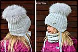 Детская шапка шик с завязками с натуральным помпоном, фото 9