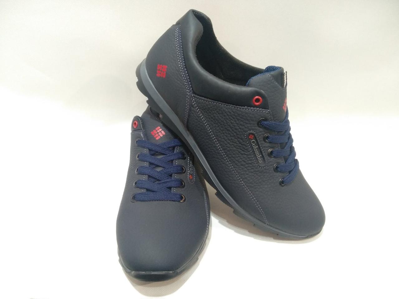 """Мужские кожаные кроссовки """"Columbia / темно/синие"""
