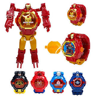 """Дитячий наручний годинник іграшка трансформер """"Капітан Америка (Captain America)"""" в подарунковій упаковці, фото 2"""