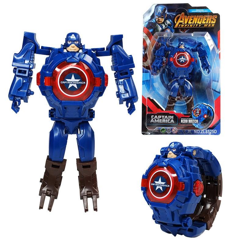 """Детские наручные часы игрушка трансформер """"Капитан Америка (Captain America)"""" в подарочной упаковке"""