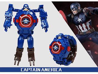 """Детские наручные часы игрушка трансформер """"Капитан Америка (Captain America)"""" в подарочной упаковке, фото 2"""