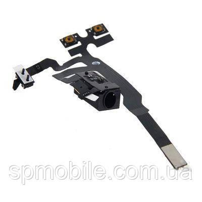 Шлейф Apple iPhone 4S гарнитура+кнопки громкости чёрный
