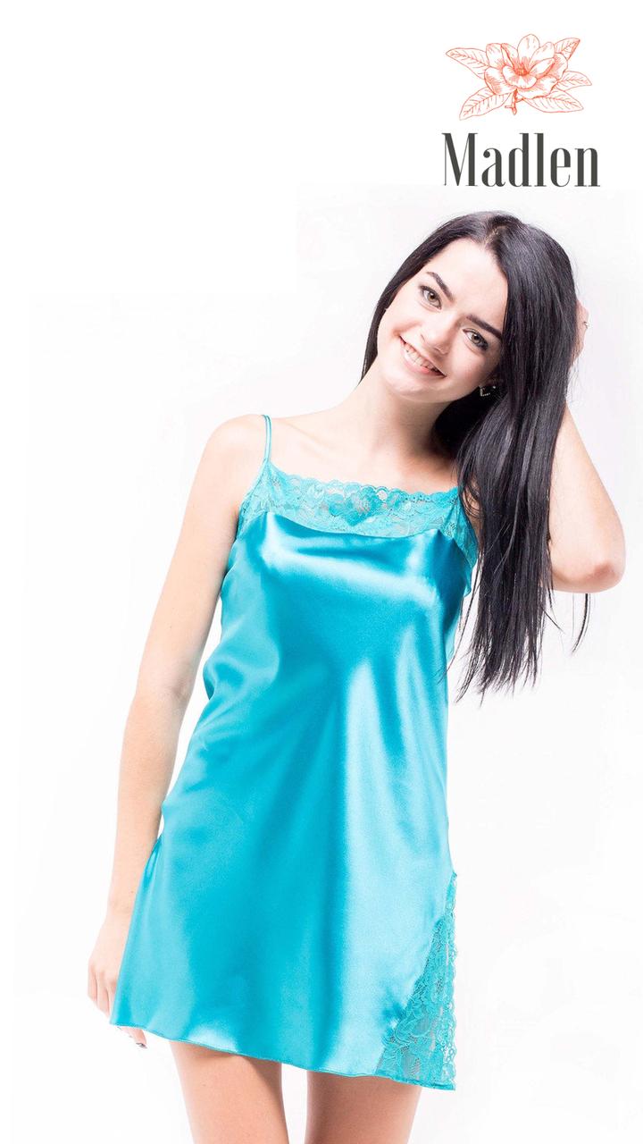 Атласная ночная сорочка Martelle Lingerie (бирюзовая)