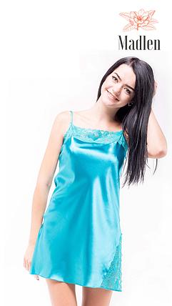 Атласная ночная сорочка Martelle Lingerie (бирюзовая), фото 2