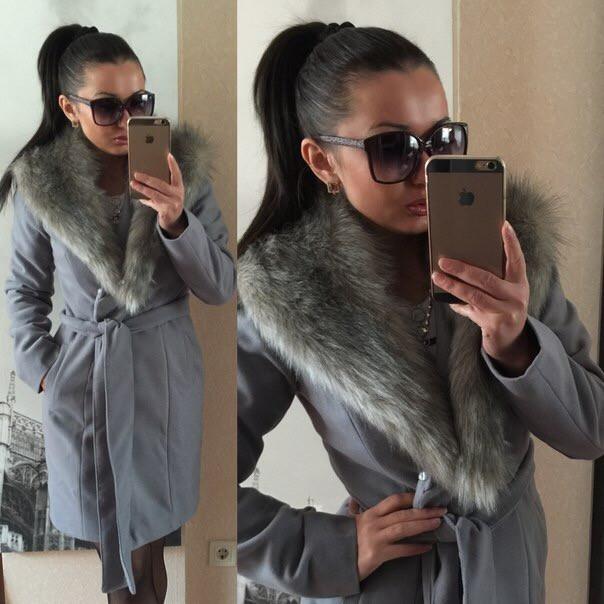 Пальто женское с мехом (К6617)