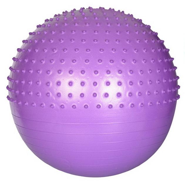 Мяч для фитнеса шар фитбол гимнастический для гимнастики с шипами массажный 65 см фиолетовый Profi