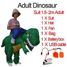 Надувной костюм зеленого динозавра для взрослого, хэллоуин, косплэй. Неси меня динозавр, фото 2