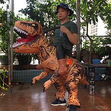 Надувной костюм зеленого динозавра для взрослого, хэллоуин, косплэй. Неси меня динозавр, фото 3