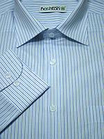 Белая рубашка в тонкую синюю полоску