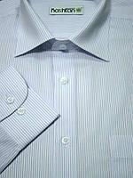 Мужская рубашка серо-белая полоска