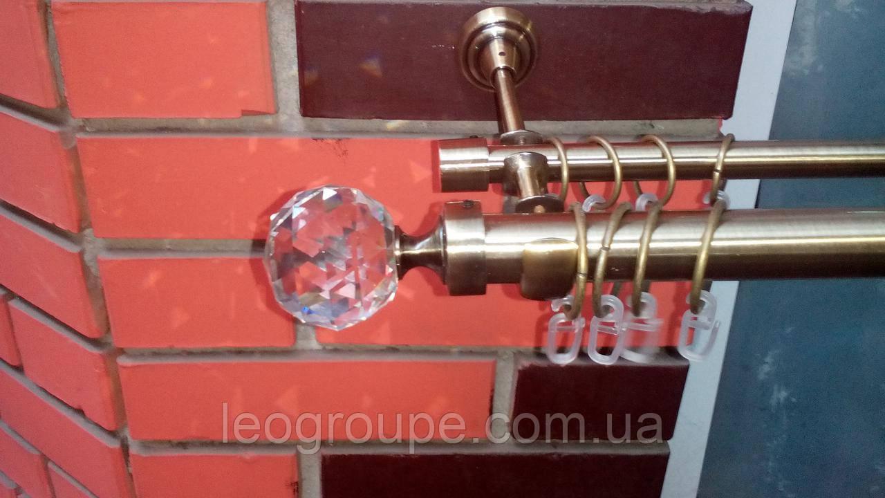 Карниз кований подвійний 25+16 кристал антик-3м