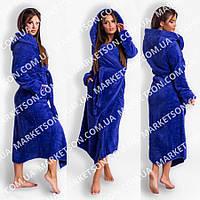 Махровый длинный женский банный халат с капюшоном, на запах