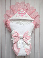"Зимний конверт-одеяло на выписку ""Розовая корона"" (махра)"