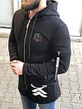 😜 Худи - Краснная мужская кофта на замке на флисе удлиненная черная, фото 2