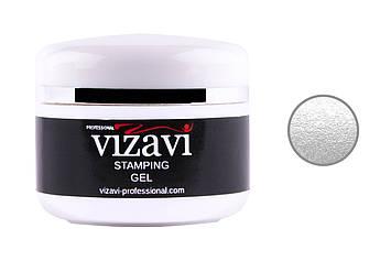 Гель краска для стемпинга Vizavi Professional без липкого слоя, 5 мл серебро