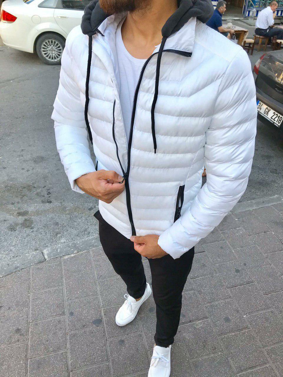 😜 Куртка - Мужскаяя куртка з с утепленным капюшоном белая