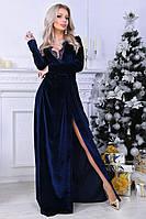 Вечернее длинное бархатное платье на запах 11667, фото 1
