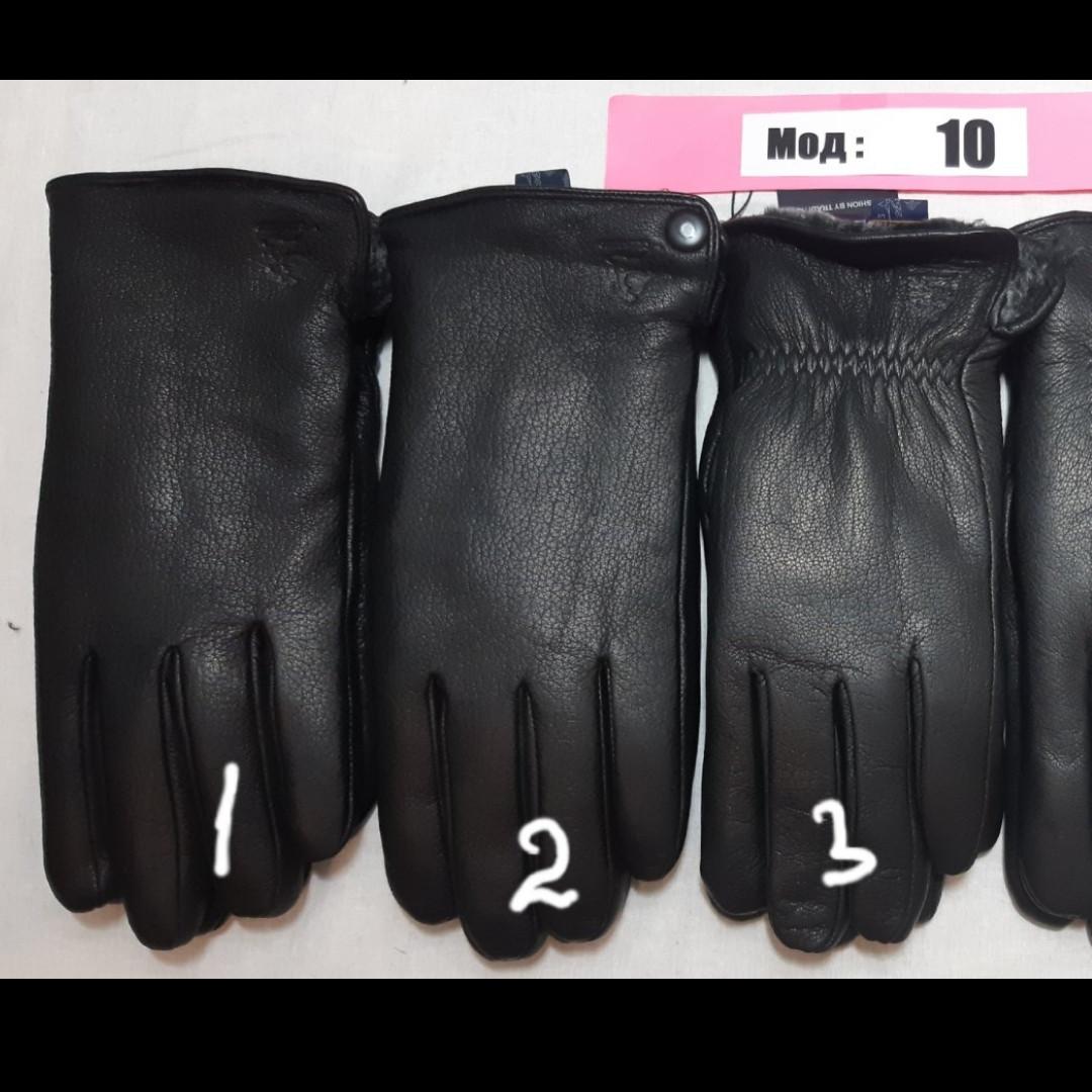 Мужские перчатки зима, кожа олень, внутри мех