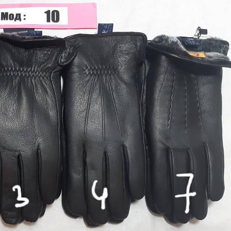 Мужские перчатки зима, кожа олень, внутри мех, фото 2