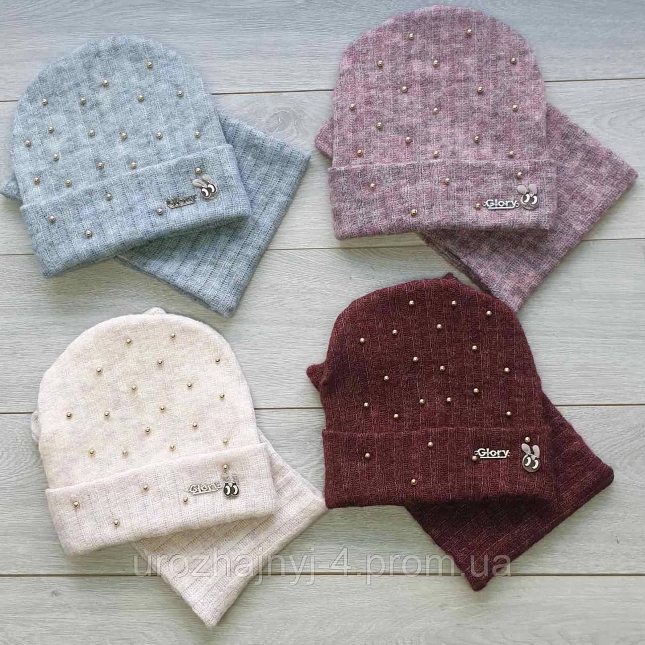 Трикотажный набор шапка и хомут подкладка флис р52-54. 5шт упаковка