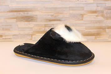 Тапочки кімнатні жіночі чорні Панда з кроликом Тп61