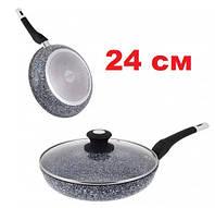 Сковорода с гранитным покрытием и крышкой UNIQUE UN-5125, фото 1