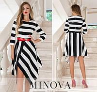 Женское платье в полоску №219Н черно-белый (р.42-48), фото 1