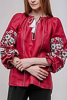 Блузка женская в украинском стиле Роксолана . Лен. Машинная вышивка.