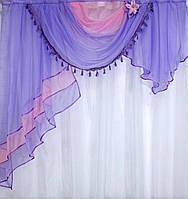 Ламбрекен на карниз 1.5м. Модель №27 бузковий з розовим