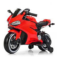 Детский электромобиль мотоцикл с подсветкой колес Bambi M 4104EL-3 красный