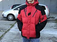 Мужской зимний пуховик RLX, красный с черными вставками