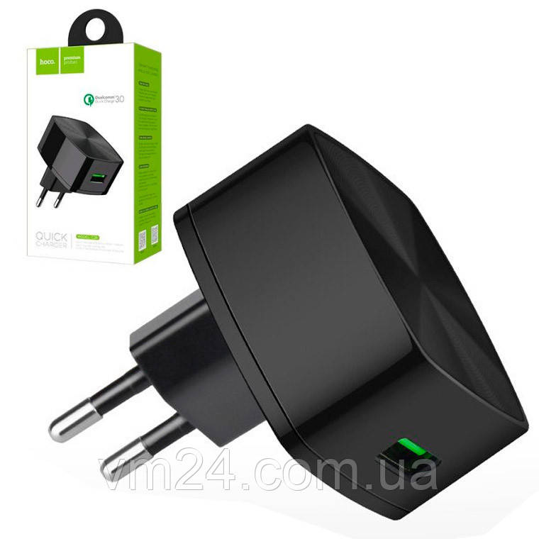 Мережевий зарядний пристрій-адаптер USB HOCO C26 1 USB/3,0 а (Чорний)