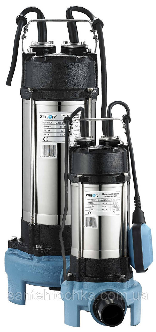 Насос  дренажно-фекальный 0.45kw H12.5м Q19.5m3/ч каб.5м с выкл. поплав.