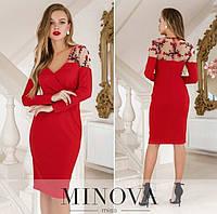 Женское платье №1886 красное (р.42-48), фото 1
