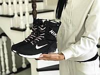 Женские зимние кроссовки Nike 8556 черно белые с розовым, фото 1