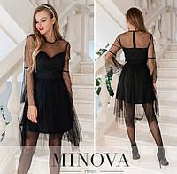 Женское вечернее платье №1876 черный (р.42-48)