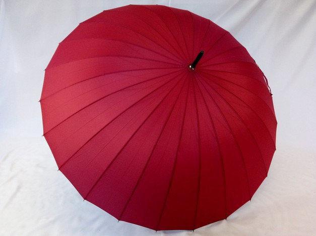 Однотонный ,бордовый женский зонт трость на 24 спицы
