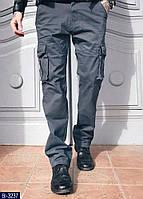 Мужские брюки карго серые