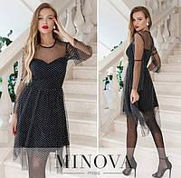Женское вечернее платье №1876 черно-белый (р.42-48), фото 1