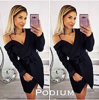 Платье женское ассиметрия на запах, черное, красное