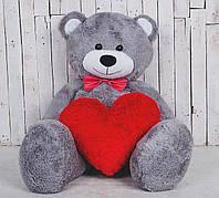 Большая мягкая игрушка мишка с сердцем Yarokuz Билли 150 см Серый