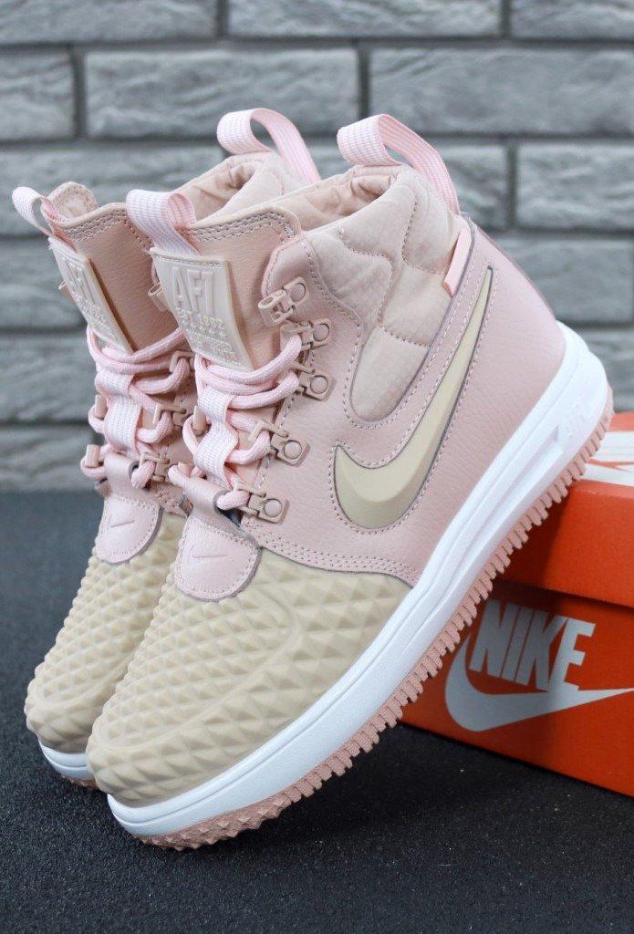 Женские кроссовки Nike Lunar Force 1 Duckboot 17 Pink (Найк Дакбут)