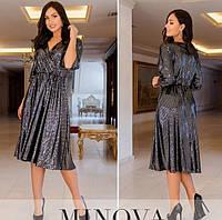 Женское нарядное платье из пайетки-люрекс №737Б(р.50-64) черный, фото 1