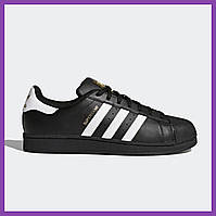 Женские кроссовки Adidas Superstar Black Black Gold Logo