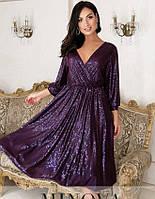 Женское нарядное платье из пайетки-люрекс №737Б(р.50-64) бордо